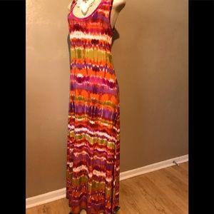 CK multicolored maxi dress size L, polyester